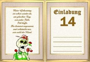 Einladungskarte 14 Geburtstag