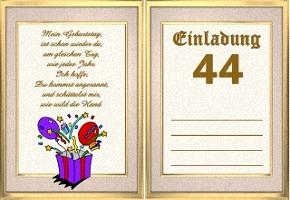 Einladungskarte 44 Geburtstag