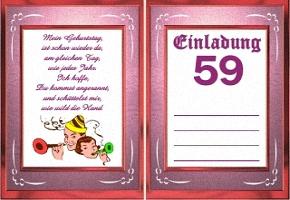 Einladungskarte 59 Geburtstag