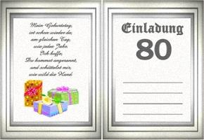 Einladungskarte 80 Geburtstag
