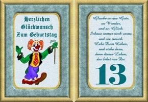 Grusskarte 13 Geburtstag