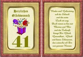 Grußkarte 41 Geburtstag