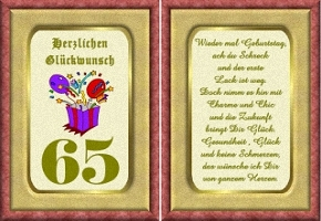Grußkarte 65 Geburtstag