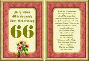 Grußkarte 66 Geburtstag