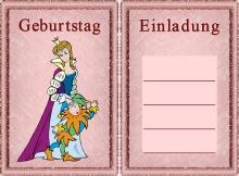 Kindergeburtstag Einladungskarten Prinzessin Motive